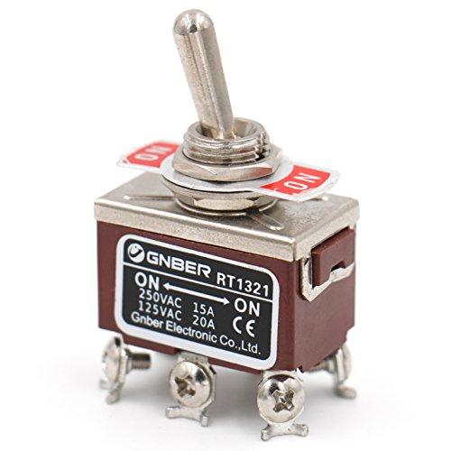 Preisvergleich Produktbild Heschen Metall-Kippschalter,  Wechselschalter,  zweipoliger Doppel-Umschalt-Schalter (DPDT) mit 2 Positionen An / An,  15 A,  250 V,  Wechselstrom,  CE-Kennzeichnung