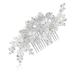 HONEY BEAR Donna Clip Pettine per Capelli,Gioielli da Sposa,Accessori per Capelli Sposa,Gioielli a Forma di Fiore con finte Perle e Strass, Bianco
