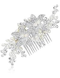 Honey Bear mujeres joyería nupcial Peinetas para el pelo flores,Cristal Simulated Pearl Peine de Novia Boda del Pelo Accesorio de Clip de Pelo,plata