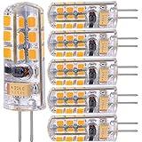 Lampadine Led G4 Luce Calda Bianca G4 LED 4W Bianco Caldo Equivalente 40W Lampade Alogena,12V AC/DC 3000K 350 Lumen Lampadine,Non Dimmerabile Confezione da 6