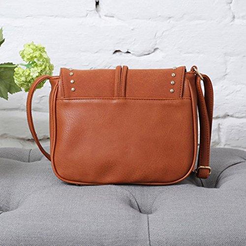 Hunpta Fashion Bag Scrub Paket Messenger Taschen Niet Schultertasche Klappe Frauen Tasche Orange