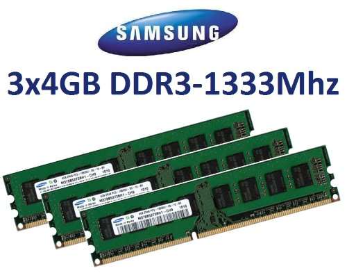12GB Triple Channel Kit SAMSUNG Original 3 x 4 GB 240 pin DDR3-1333 (1333Mhz, PC3-10600, CL9) Nicht-ECC , unbuffered (3x M378B5273BH1-CH9 ) für DDR3 + i3 + i5 + i7 Mainboards