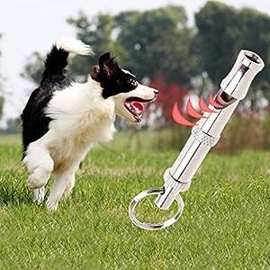 Qisuw pour animal domestique Dressage de chien Obéissance Sifflet à ultrasons Supersonic son Terrain Silencieux réglable Flûte Puppy Onson Sifflet pour arrêter d'Aboyer