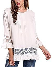 K-youth® Camiseta Para Mujer, Mujer Manga 3/4 Camisa Casual Blusa Suelto Tops Barata Atractivas Blusas Mujer Larga Elegante Ropa de…