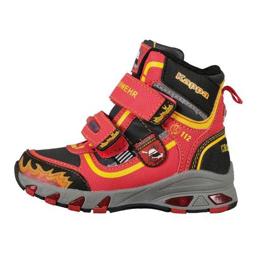 """Kappa 260112K, Sneaker a collo alto con doppia chiusura a strappo, motivo """"Pompieri"""" Unisex - bambino Multicolore (Mehrfarbig (2011 RED/BLACK))"""