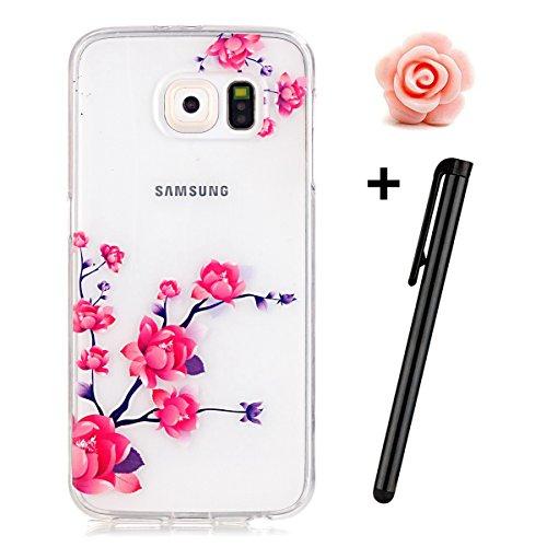 Preisvergleich Produktbild Samsung Galaxy S6 Hülle,Samsung Galaxy S6 Case,TOYYM TPU Hülle Schutzhülle Crystal Case Silikon Transparent Hülle Pfirsichblüte Muster Anti-Kratz Zurück Case Cover für Samsung Galaxy S6