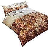 Sepia New York Skyline Beige Braun creme-baumwolle Mischung einzeln ( Plain Weiß passendes Leintuch - 91 x 191cm + 25) 3 Stück Bettwäsche Set