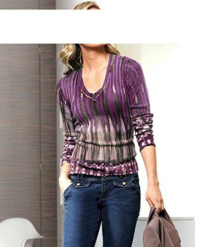 Heine - Pull - Opaque - Femme Multicolore Baie Violet - Baie