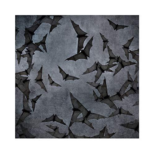 OERJU 3x3m Halloween Hintergrund Fliegende Fledermäuse Muster Dunkel Tapete Hintergrund Halloween Party Fotografie Süßes oder Saures Kinder Party Banner Dekoration Porträt