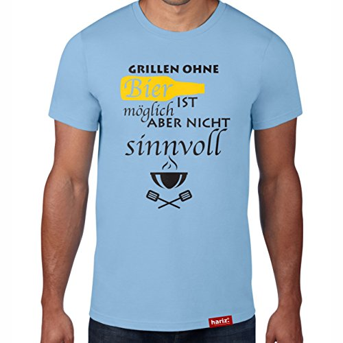 Grill Sky Blue (Grillen ohne Bier - Möglich aber nicht sinnvoll // Original Hariz® T-Shirt - Sechzehn Farben, XS-4XXL // Männer | Sprüche | BBQ | Geburtstag | Geschenke #Grill Collection Sky Blue XL)