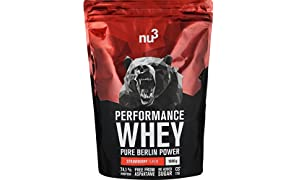 nu3 Performance Whey Protein | 1 kg blend with strawberry flavour | whey powder with 74.1% protein per serving | top amino acid profile (BCAA) + isolate protein | sport supplement for muscle grow | low in sugar and carb content | high soluble formula