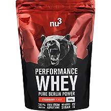 nu3 Performance Whey Protein sabor fresa | 1 kg de suero en polvo con 74.1% de proteína | Fórmula mejorada con aminoácidos BCAAs + proteína aislada ...