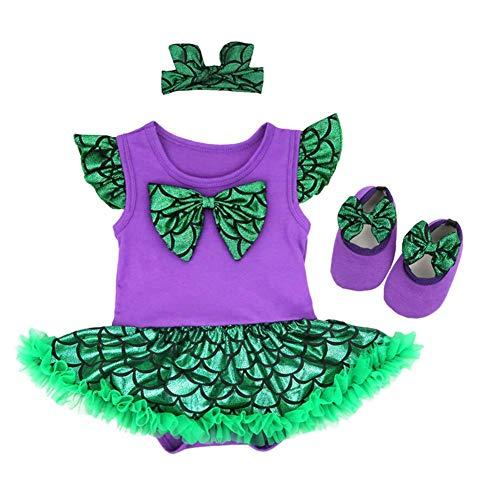 Kostüm Fairy Snow - Baby Mädchen Schneewittchen Kleine Meerjungfrau Prinzessin Ariel Kostüm Strampler Tutu Kleid 3tlg Fotoshooting Halloween Weihnachten Karneval Kostüme Geburtstag Party Outfits Kleidung 6-12 Monate