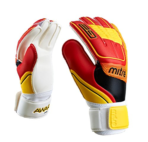 Mitre Kinder Awara Junior Torwarthandschuhe, White/Red/Yellow, Size 5