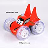 Adonai Remote Controlled 360 Degree Battery Operated Stunt Car For Kids With Music (Red)