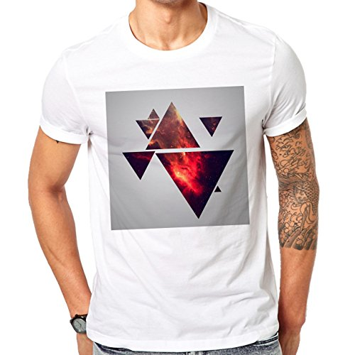 Illuminati Triangle Art Majestic Square Many Fire Triangles Herren T-Shirt Weiß