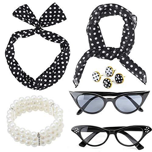 Beelittle 50's Damen Kostüm Accessoires Set Polka Dot Chiffon Schal Bandana Krawatte Stirnband Ohrringe Retro Cat Eye Eglasses Perlen Armband (Schwarz) (Polka Dot Kostüm)