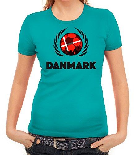 ShirtStreet Denmark Wappen Soccer Fussball WM Fanfest Gruppen Fan Wappen Damen T-Shirt Fußball Dänemark karibikblau