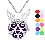 Aromatherapy Essential Oil Diffuser Necklace Vine Angel Wing Pendant Locket Jewelry with 12 Refill Pads
