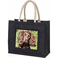 Brown Cocker Spaniel 'Love You Mum' Large Black Shopping Bag Christmas Present I