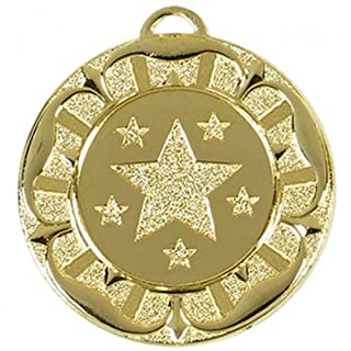 40mm Star Rosette Medal Gold with Ribbon and Free engraving up to 30 Letters
