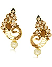 Spargz Designer Gold Plated Alloy MetalAD Stone Drop Earring For Women AIER 462