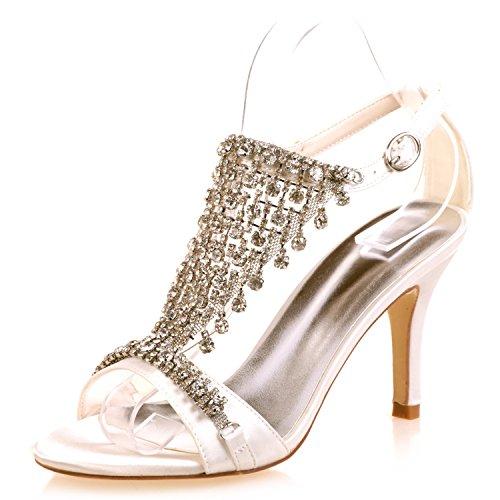 Elobaby donna scarpe da sposa strass tacchi alti piattaforma pu décolleté scarpe da sposa/tacchi 8,5 cm/sera, ivory, 38