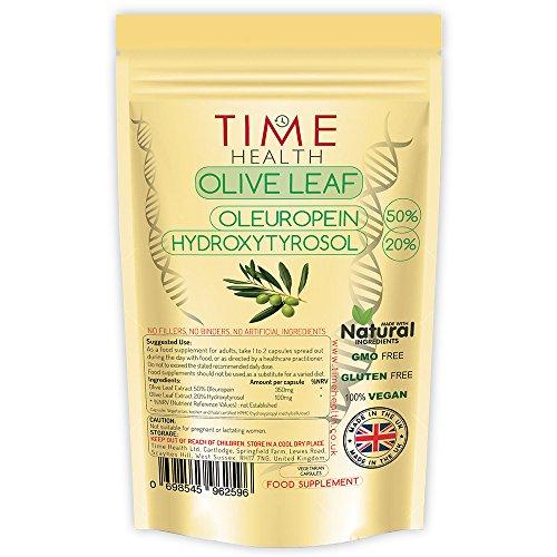 Olivenblatt-Extrakt - Sehr Stark - Oleuropein 50% - Hydroxytyrosol 20% - Natürlich - Ohne Zusätze - GMP-Qualitätssicherung - Im UK hergestellt (120 Kapseln) -