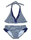 iEFiEL Fille Maillot de Bain A Rayé Deux Pièces Bikini à Bretelle Tankini Vacances 8-16 Ans