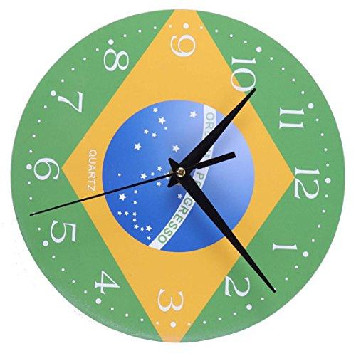 Tickgeräusche World Cup Thema Nationalflaggen Modern Design Wanduhren Wandtattoo Kreative Dekoration Uhr (20 cm x 20 cm) (20 cm x 20 cm, D) ()