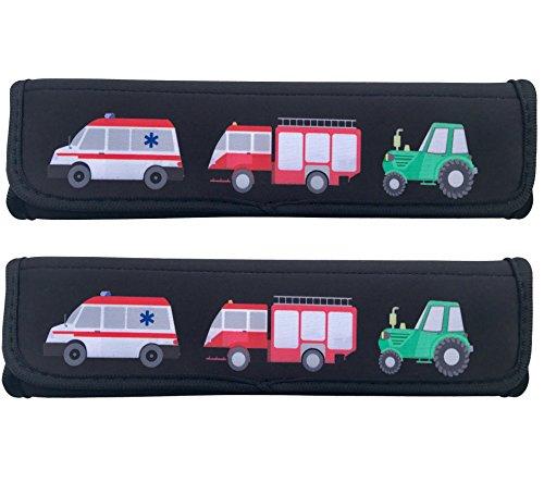 2x Auto Gurtschutz Sicherheitsgurt Schulterpolster Schulterkissen Fahrrad Fahrradsitz Autositze Gurtpolster für Kinder Jungen/Jungs mit Feuerwehr, Traktor, Krankenwagen - von HECKBO