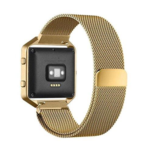 Clode® Luxus Milanese Magnetic Edelstahl Ersatz-Armband Watch Band Uhrenarmband+Metallrahmen für Fitbit Blaze S (Gold) (Zubehör Puls Fitbit)