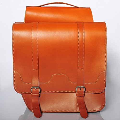 FSBIKE® CLASSIC RIDE I Leder Doppel Gepäckträgertasche | 100% Rindsleder/Premium Juchtenleder | Radtasche | Fahrradtasche | Top Qualität | Handgefertigt Cognac-Premium