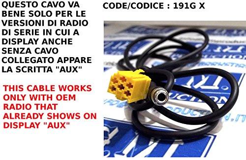 G.M. Production 191G XP–Kabel AUX Mp3Autoradio-Serie Blaupunkt auf Alfa Fiat Lancia Smart For Two Fortwo ab 2007bis 2011mit Stecker Panel–kein Blue & Me, nur mit AUX-Anzeige verfügbar [Fotos und Angaben zur Kompatibilität beachten] Gm Oem-radio