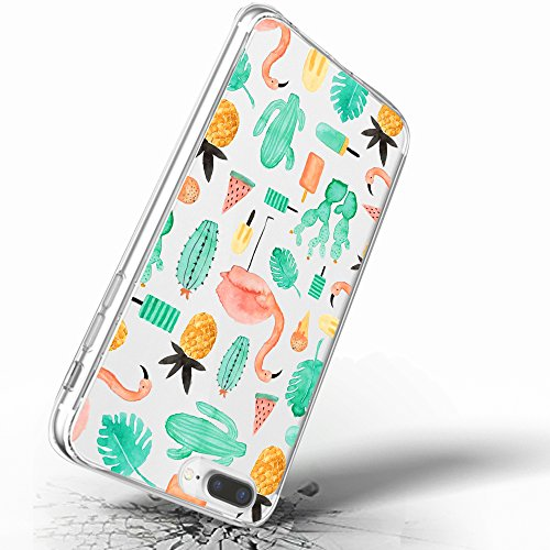 Inonler Transparent mignon cactus ananas flamant feuilles douces habitudes coque(iPhone 6/6S,Multi-coloured-coloured)