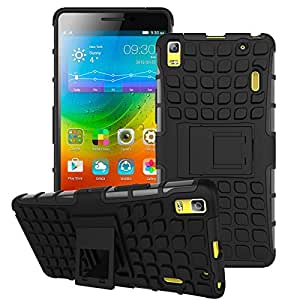 SDO Rigid Dual Layer Kickstand Hybrid Warrior Case Back Cover for Lenovo K3 Note - Black with OTG Cable