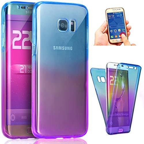 Coque Galaxy S7 Edge,ikasus Intégral 360 Degres avant + arrière Full Body Protection Couleur de dégradé Transparente Silicone Gel TPU Souple Housse Etui Case Coque pour Galaxy S7 Edge,Bleu Violet