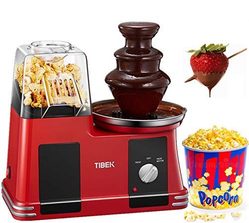 Schokoladenbrunnen mit Popcornmaschine, einfache Installation und Bedienung, ziemlich leicht, BPF-frei, 1200 W