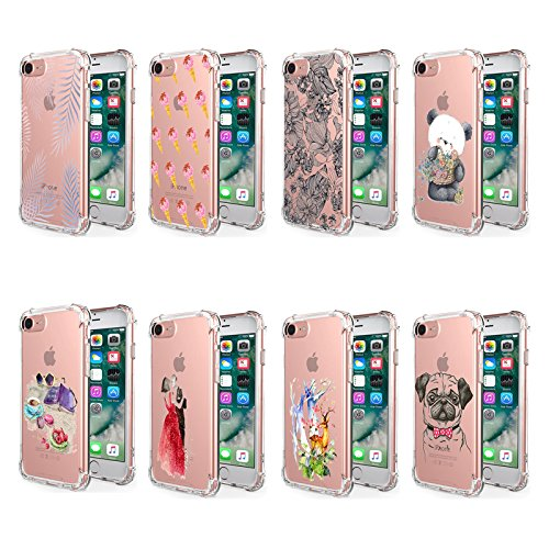 iPhone 7 Hülle, JEPER Air-Cushion Shock Absorption Kratzfest Transparent Bumper Schutzhülle TPU Silikon Flexibles Case Drop Schutz Cover für Apple iPhone 7 4.7 Zoll 01