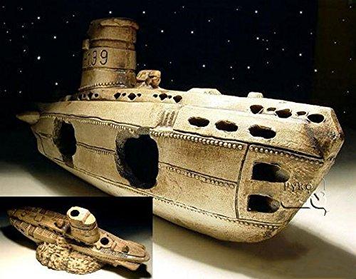 aquarium-dekoration-keramik-u-boot-hohle-wrack-fische-submarine-terrarium-neu