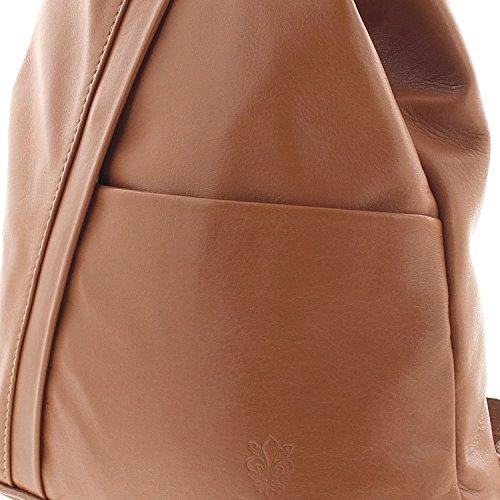 IO.IO.MIO leichter echt Leder Damenrucksack CityRucksack DayPack freie Farbwahl , 27-18x30x13 cm (B x H x T) Cognac