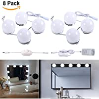 B-right Pack de 8 Luces de Espejo, Lámpara de Espejo Regulable, Estilo Hollywood, Kit De Luces Para Maquillaje Cosmético, Espejo No Incluido