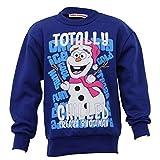 Mädchen Weihnachten Sweatshirt Kinder OLAF FROZEN Weihnachten Völlig Kühl Schneemann Winter - Mädchen, Blau - LATOTAL14, 104