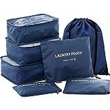 Hiday 7pcs Système D'emballage De Cube - 3 Cubes De Voyage + 3 Sachets + 1 Cordon Sac à dos, Votre Meilleur Assistant De Voyage!