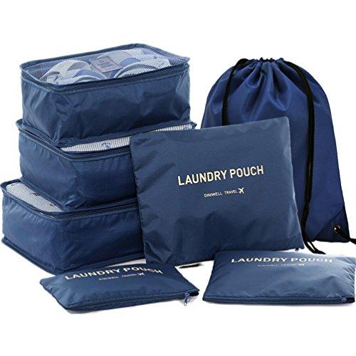 HiDay Verschiedene 7 Satz Reise Würfelsystem - 3 Verpackung Würfel + 3 Beutel + 1 Kordelzug Rucksack Tasche - Perfekte Reisegepäck Veranstalter (Kordelzug Veranstalter)
