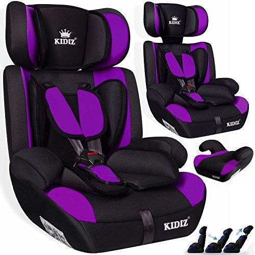 KIDIS® Autokindersitz Kinderautositz Sportsline Gruppe 1+2+3 | 9-36 kg Autositz Kindersitz | Stabil und Sicher | Farbe LILA