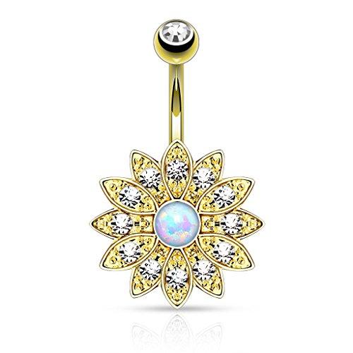 KULTPIERCING - Bauchnabel Piercing Nabelpiercing Bananabell Kristall Blume Opal Gold Piercing Schmuck Gold