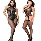 LOVELYBOBO 2 Pack Damen Bodystocking Netz Dessous Body Übergröße Bodysuit Nachtwäsche Dessous Frau-Spitze niedrig-Steigen Schlüpfer Schwarz
