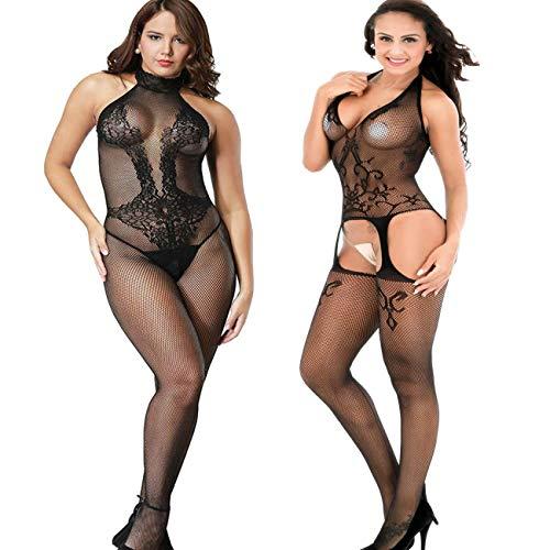 LOVELYBOBO 2 Pack Damen Bodystocking Netz Dessous Body Übergröße Bodysuit Nachtwäsche Dessous Frau-Spitze niedrig-Steigen Schlüpfer Schwarz