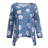 IMJONO Damen Freizeit Chiffon V-Ausschnitt Manschetten-Ärmel Locker Shirt Bluse Oberteile(EU-42/CN-2XL,Blau)